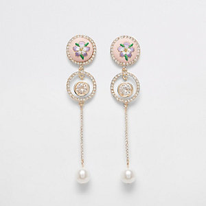 Pink embroidered pearl drop earrings