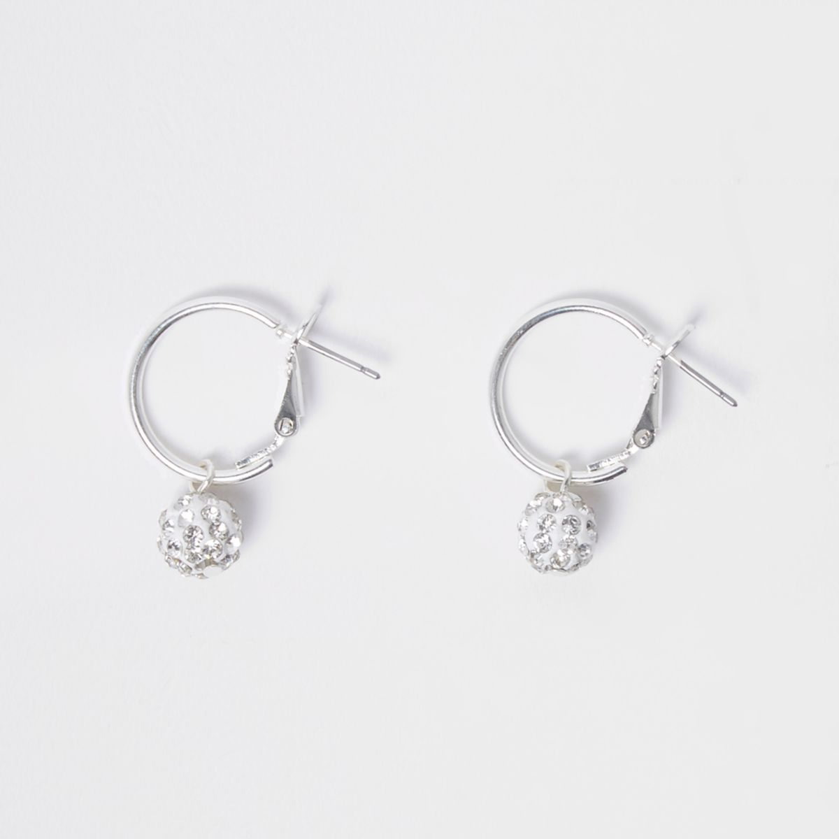 Silver tone rhinestone ball hoop earrings