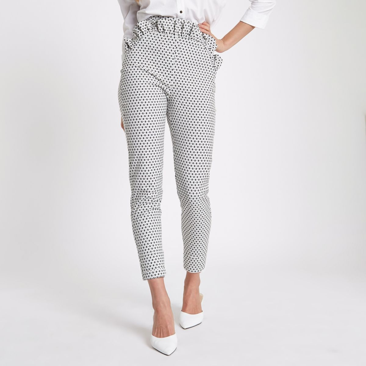 White geo print frill cigarette trouser