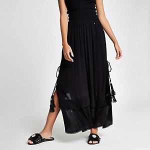 Black sequin shirred maxi skirt