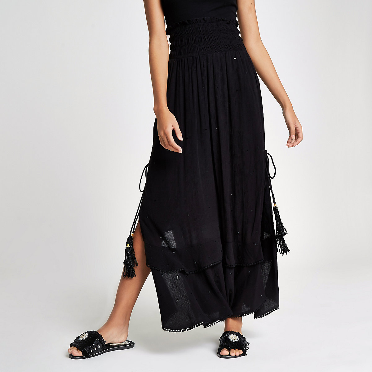 Black sequin shirred maxi skirt
