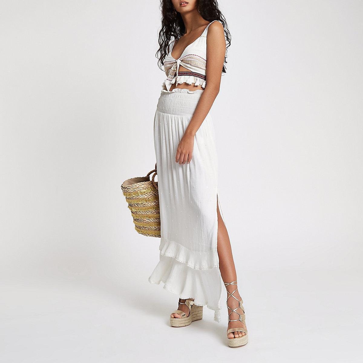 White sequin shirred maxi skirt