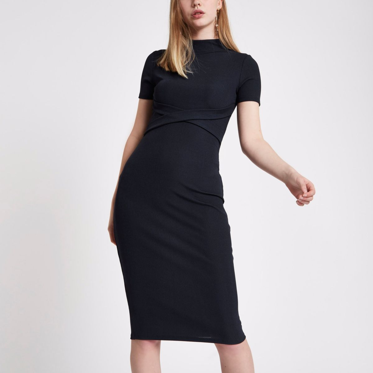 Navy wrap front jersey bodycon dress