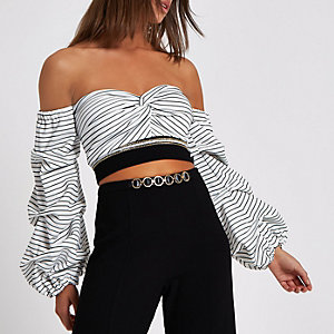 White stripe bardot crop top