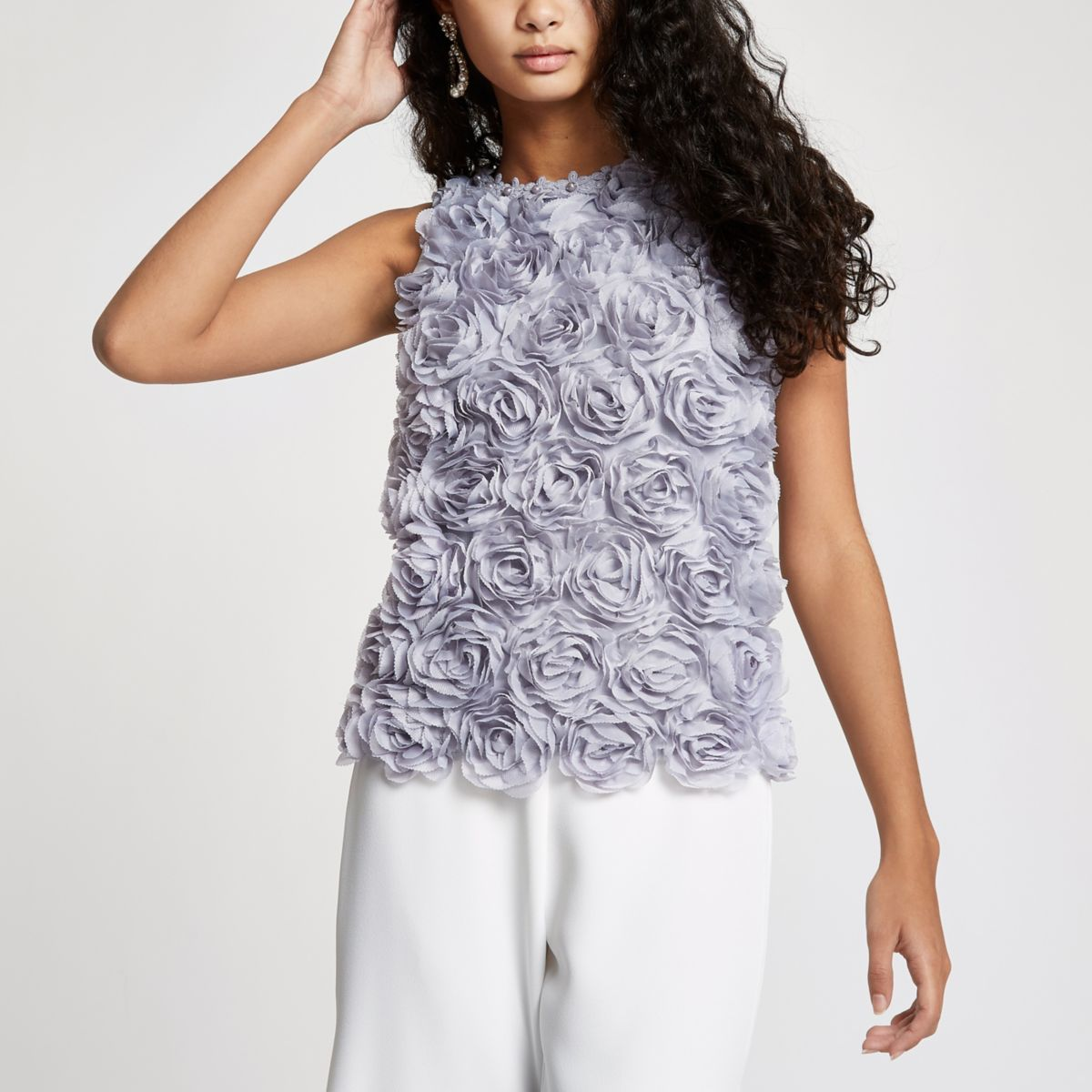 Grey Floral Sleeveless Top                                  Grey Floral Sleeveless Top by River Island