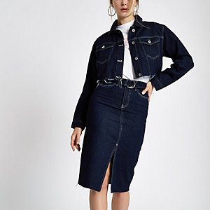 Dark blue belted denim pencil skirt