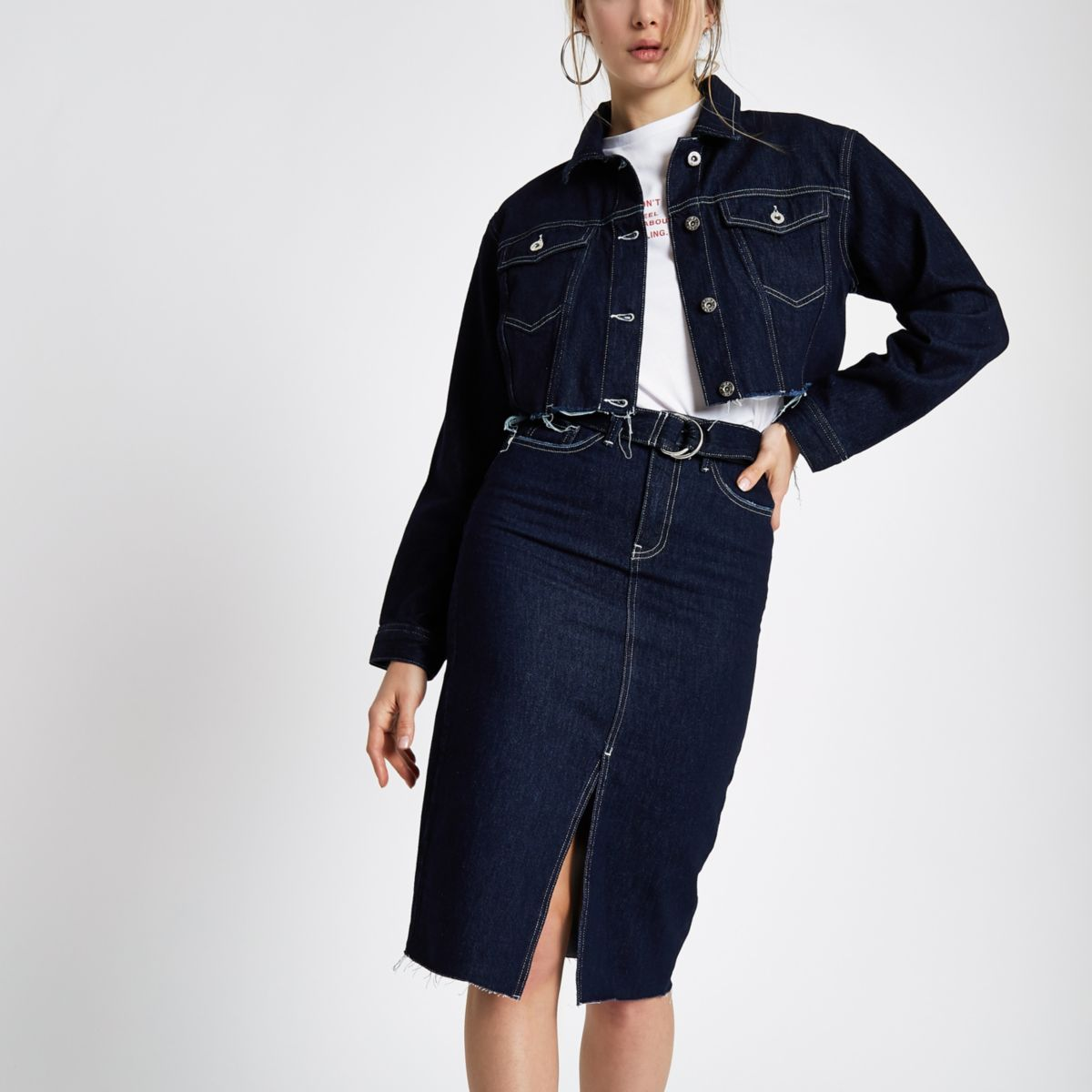 Dark blue belted denim pencil skirt