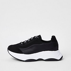 Black chunky platform lace-up trainers