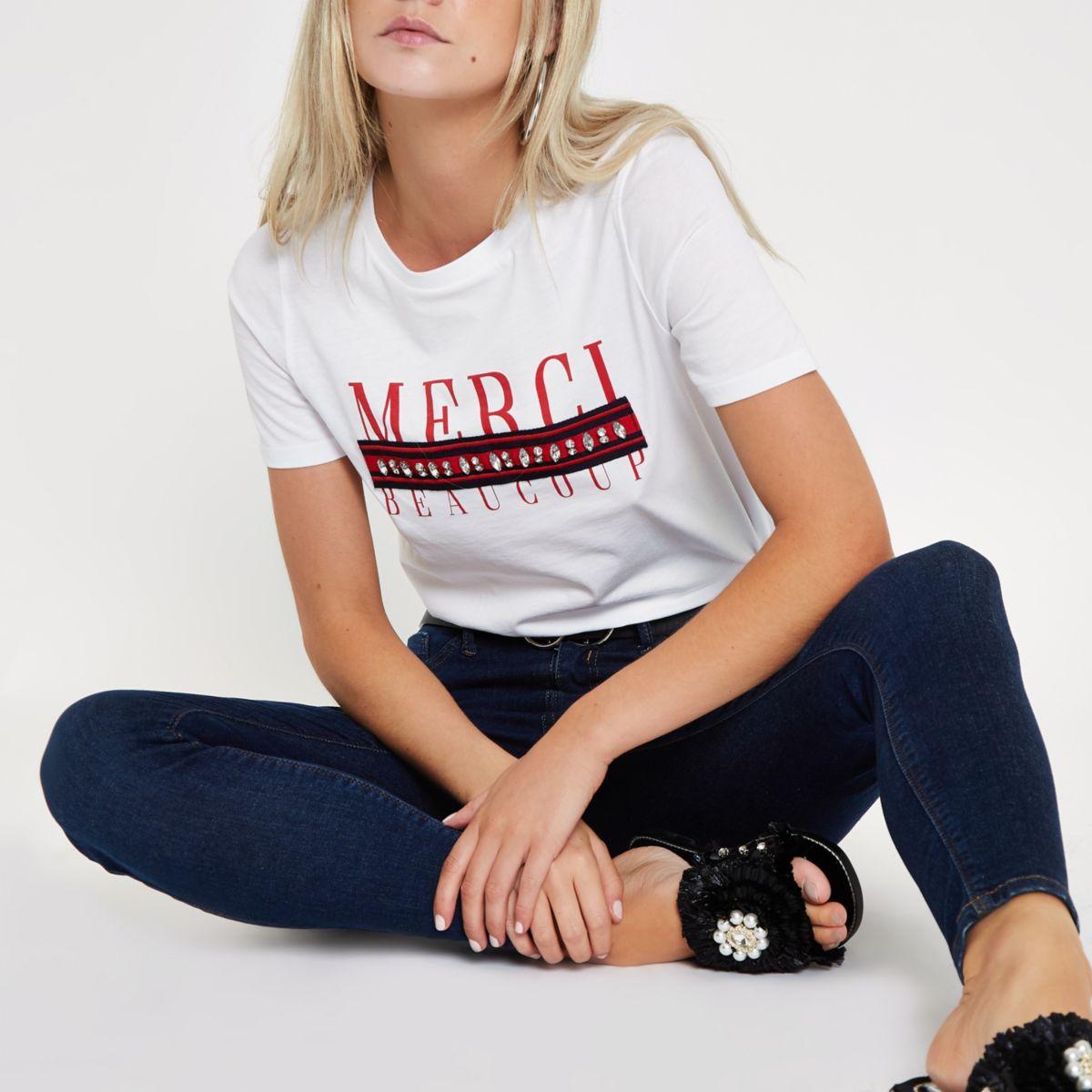 Petite white 'merci' tape embellished T-shirt