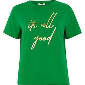 T-shirt à imprimé « It's all good » vert
