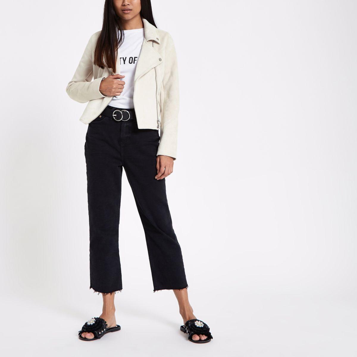 Petite light beige faux suede biker jacket