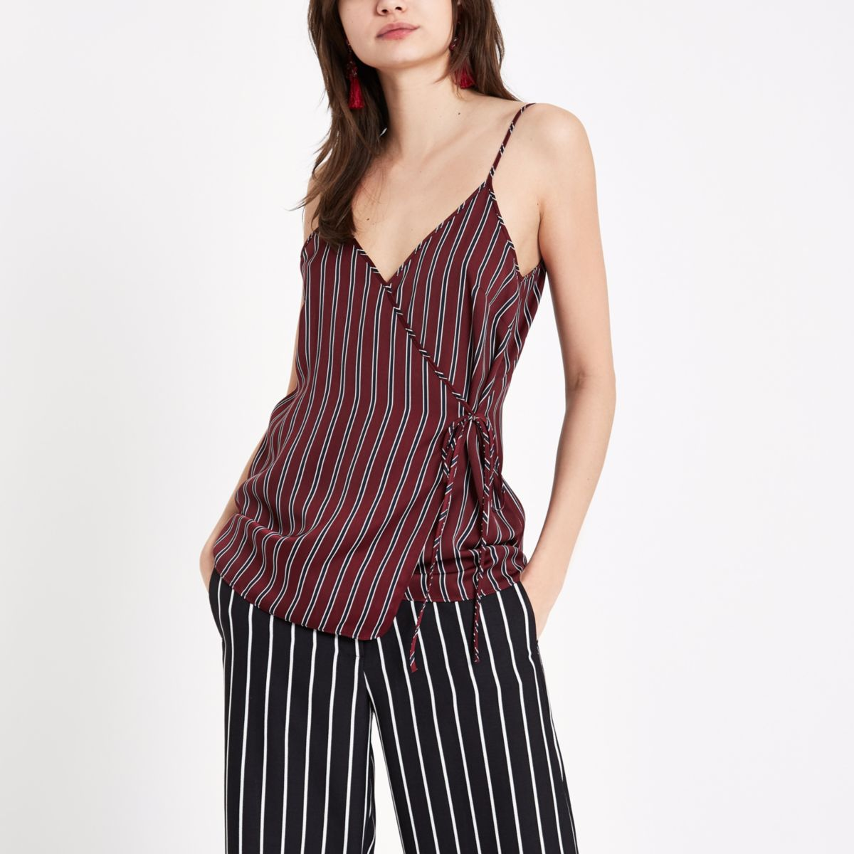 Red stripe wrap cami top