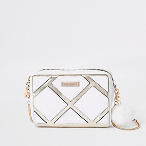 White metallic cutabout boxy crossbody bag