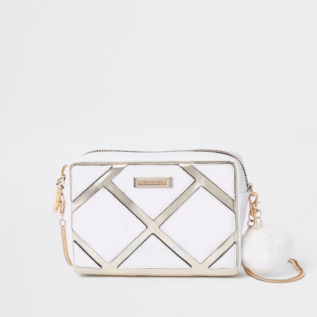 White metallic cutabout boxy crossbody bag