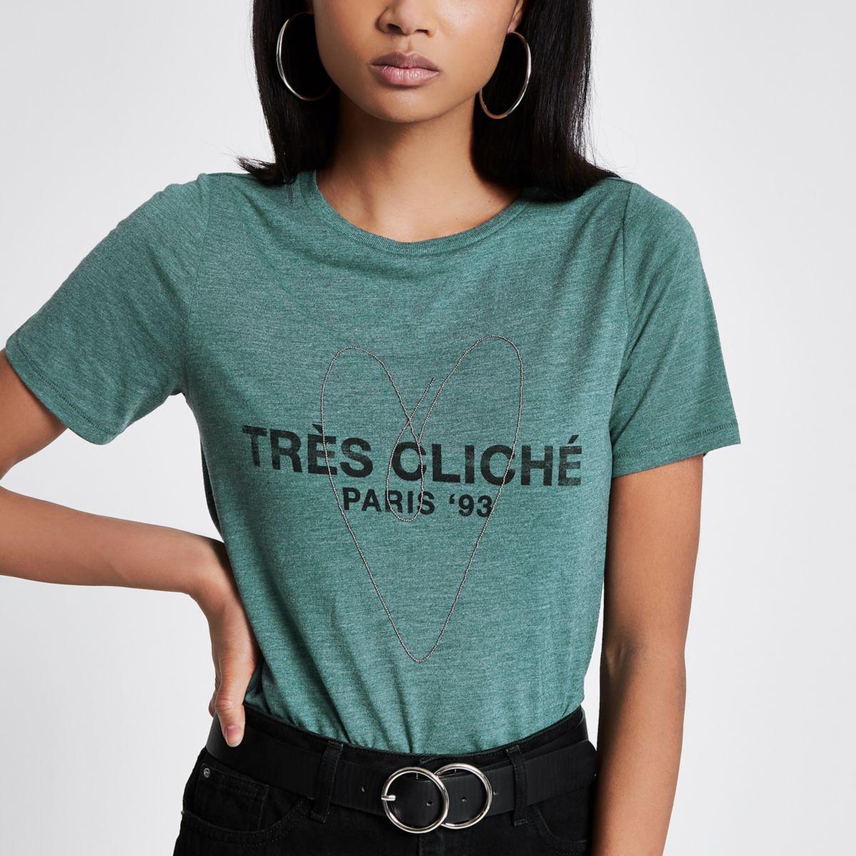 Green marl 'tres cliche' T-Shirt