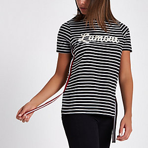 Black 'Lamour' stripe print side tape T-shirt