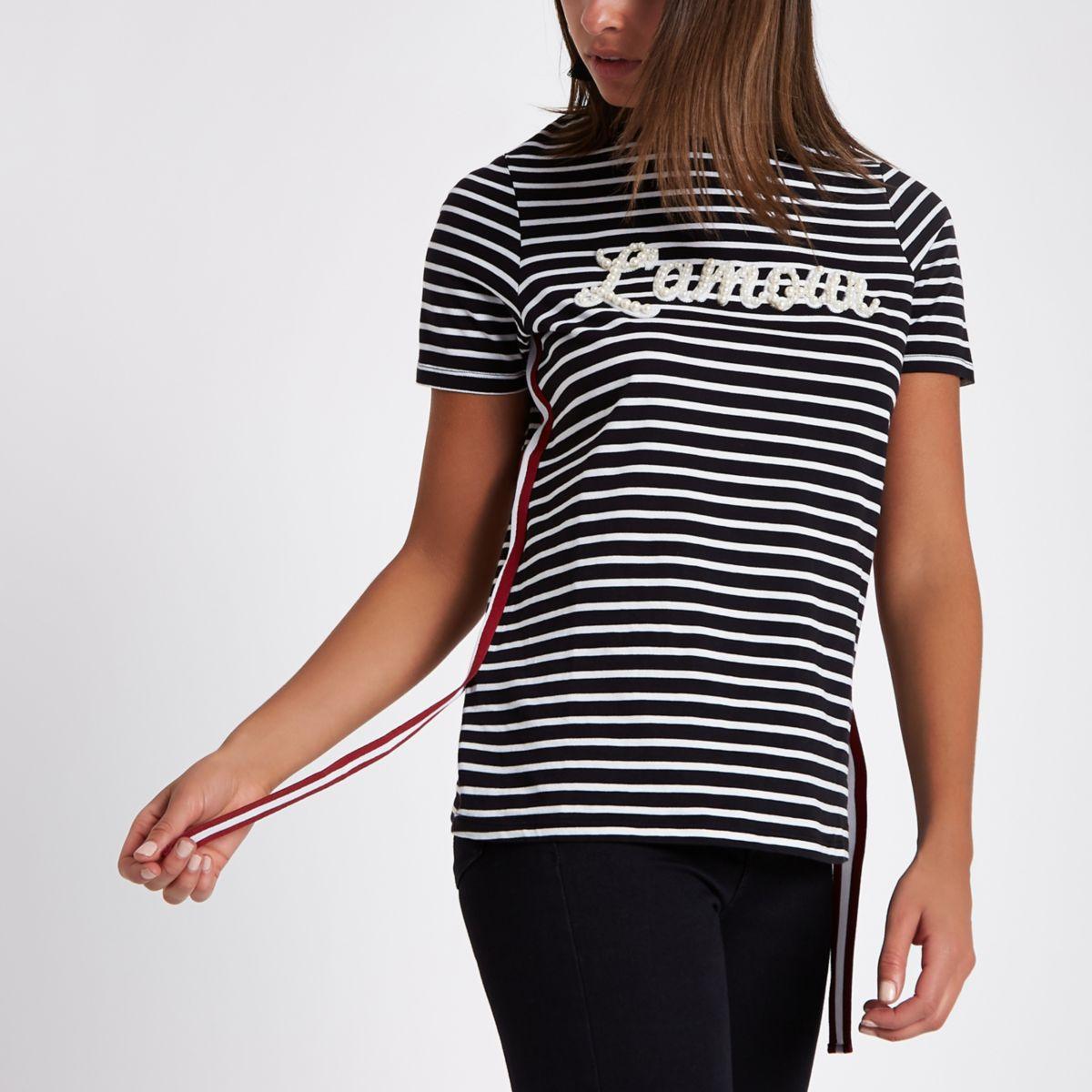 "Schwarzes T-Shirt mit ""Lamour""-Print"
