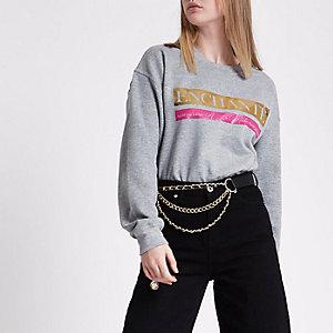 Grijs sweatshirt met 'Enchante'-print