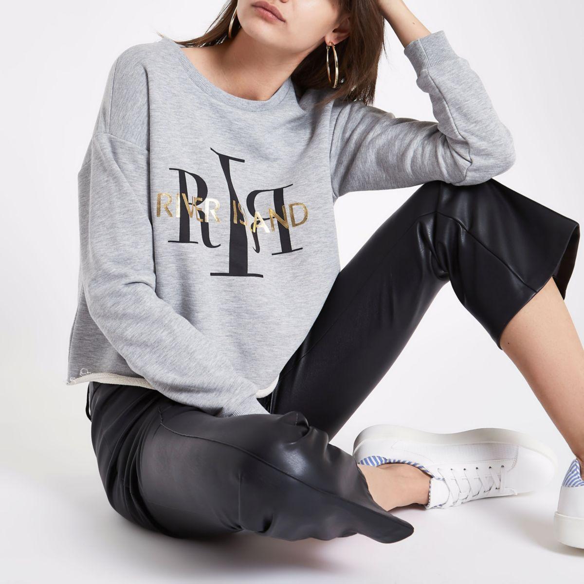 Grijs sweatshirt met lange mouwen en RI-logo