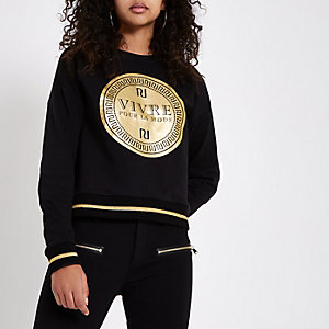 Black 'vivre' print RI branded sweatshirt