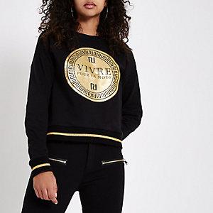 Zwart sweatshirt met 'vivre'-print en RI-logo