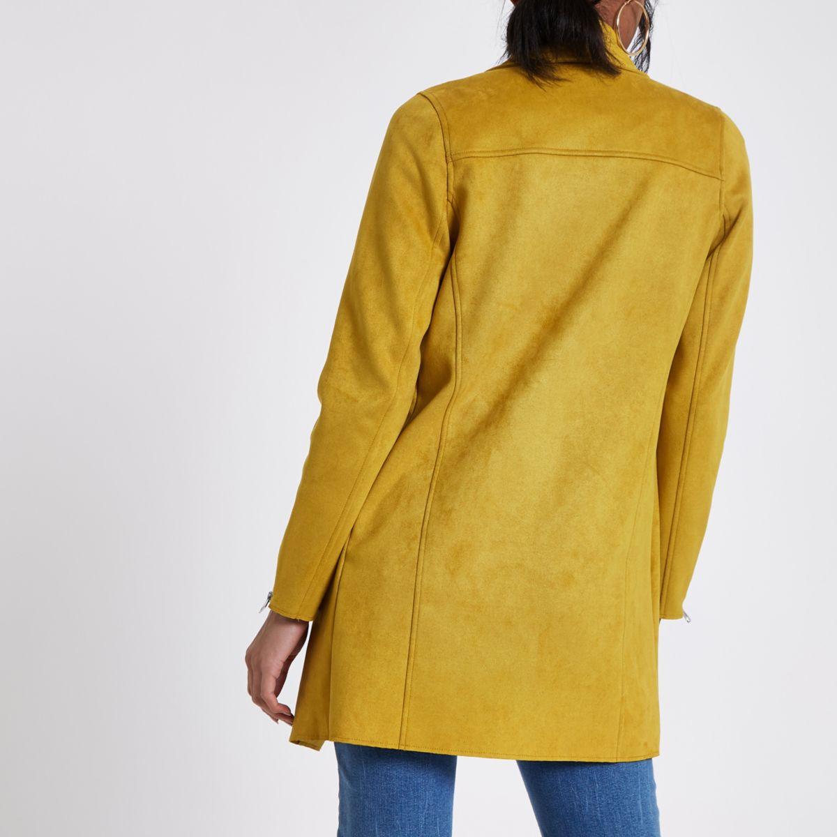 Yellow Faux Suede Longline Fallaway Jacket by River Island