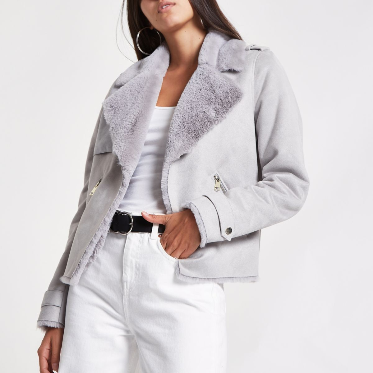 Grey fallaway faux suede crop jacket