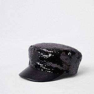 Zwarte bakerboy-pet met lovertjes