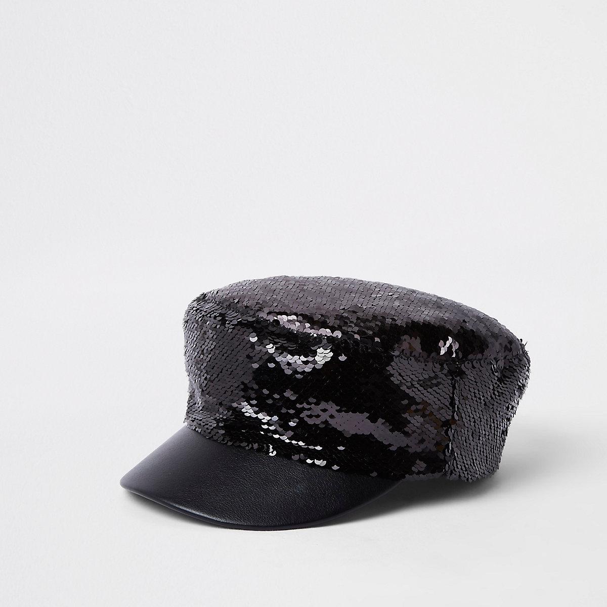 Black sequin baker boy hat