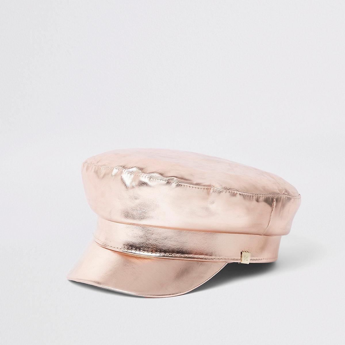 Casquette gavroche or rose métallisé