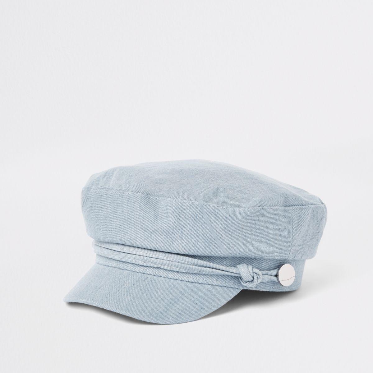Blue denim baker boy hat