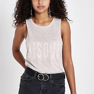 Beige 'bisous' lace tank top