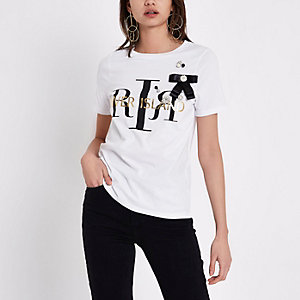 White RI bow embellished T-shirt