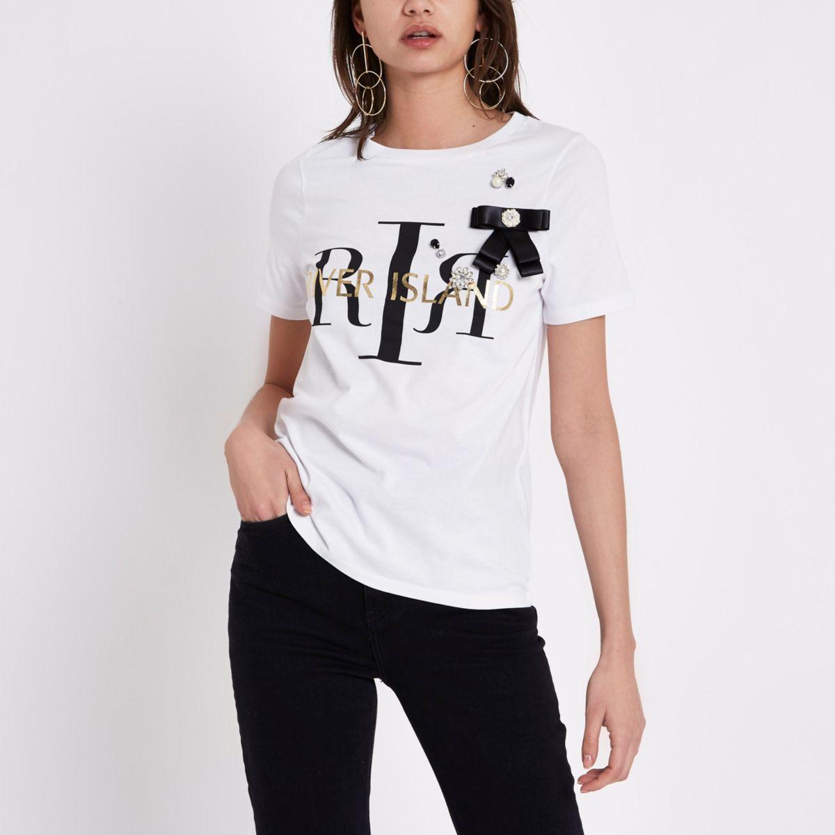 White RI bow embellished T-shirt