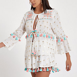 White tassel palm print beach caftan