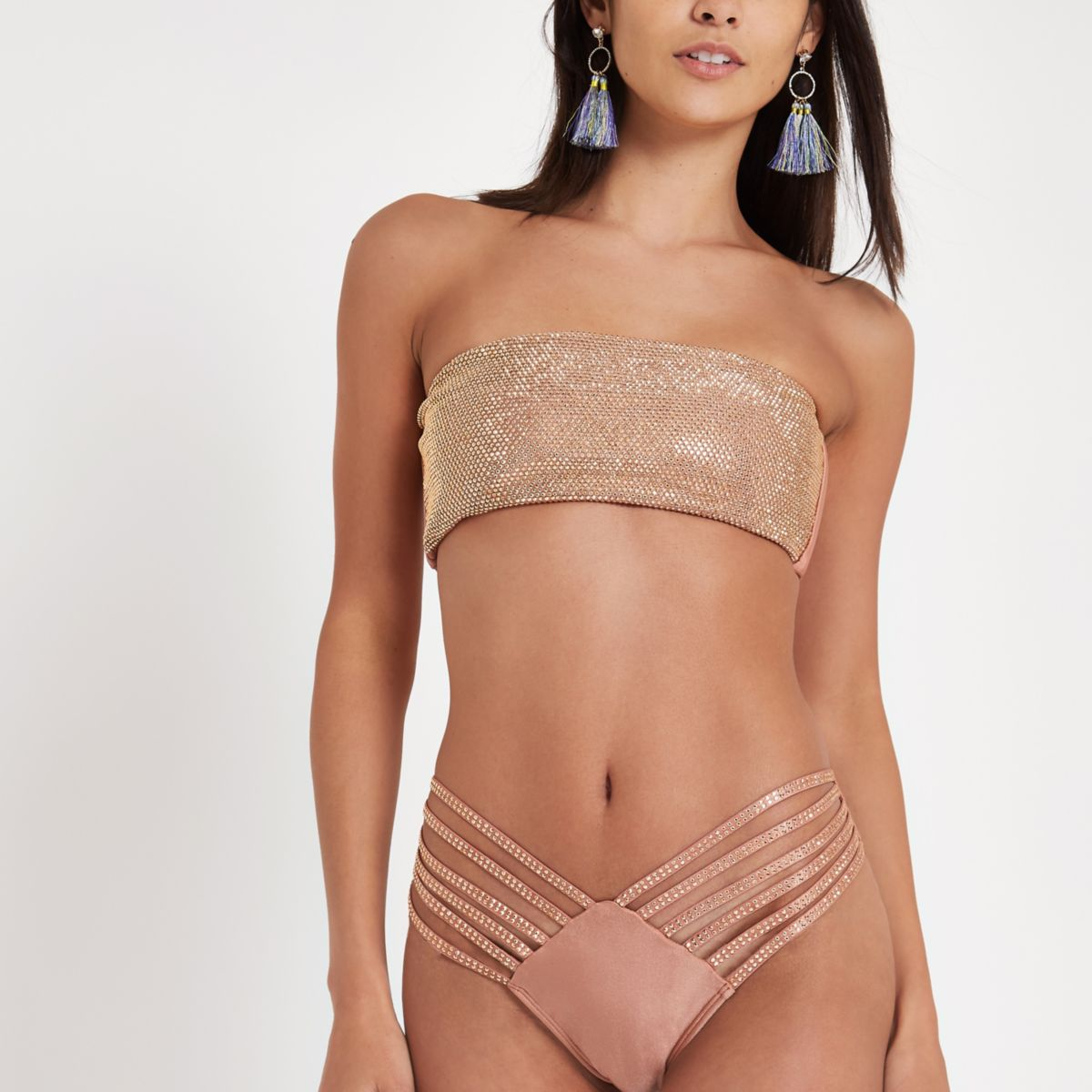 Brown bandeau sequin embellished bikini top