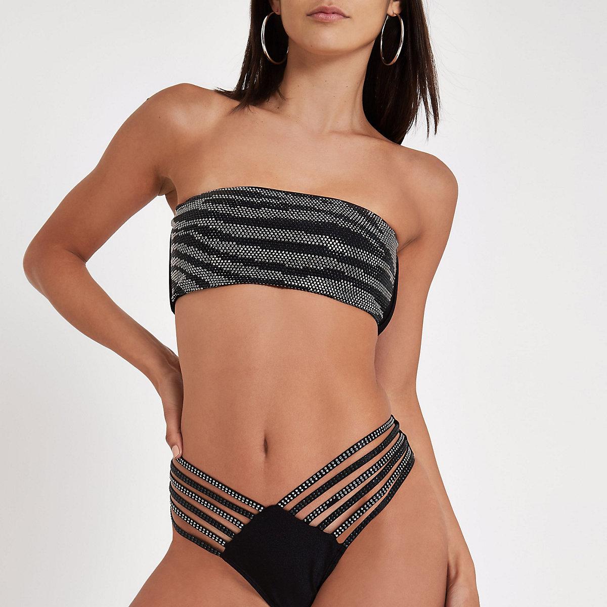 Haut de bikini bandeau noir orné de sequins