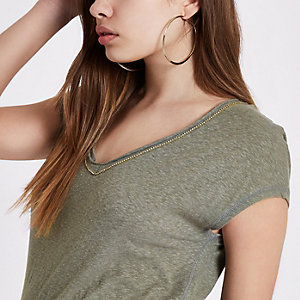 Khaki green diamante trim V neck T-shirt
