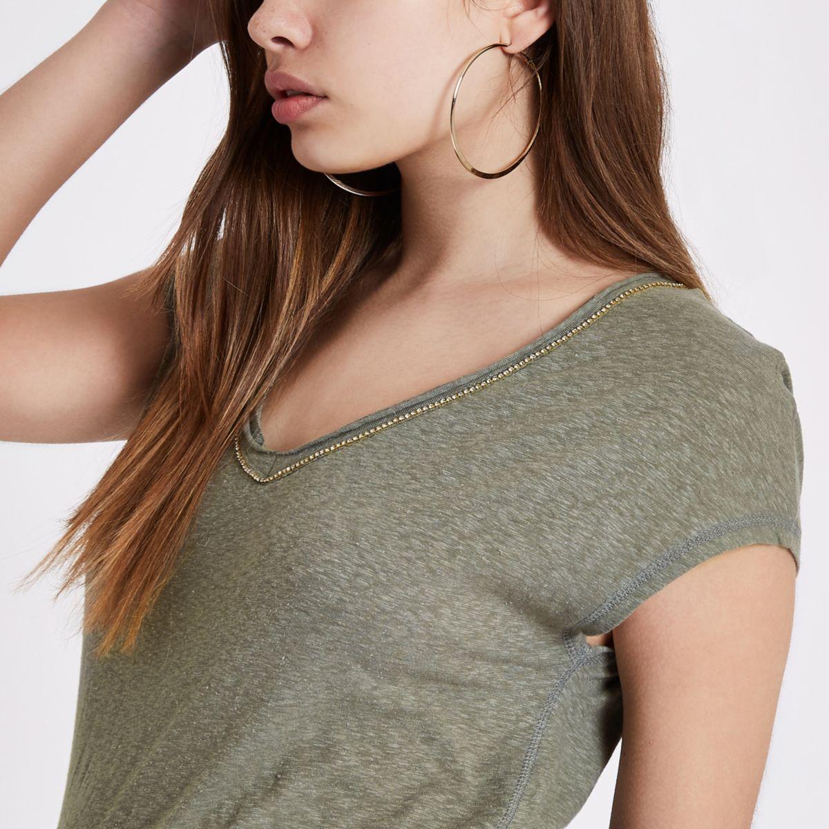 Khaki green rhinestone trim V neck T-shirt