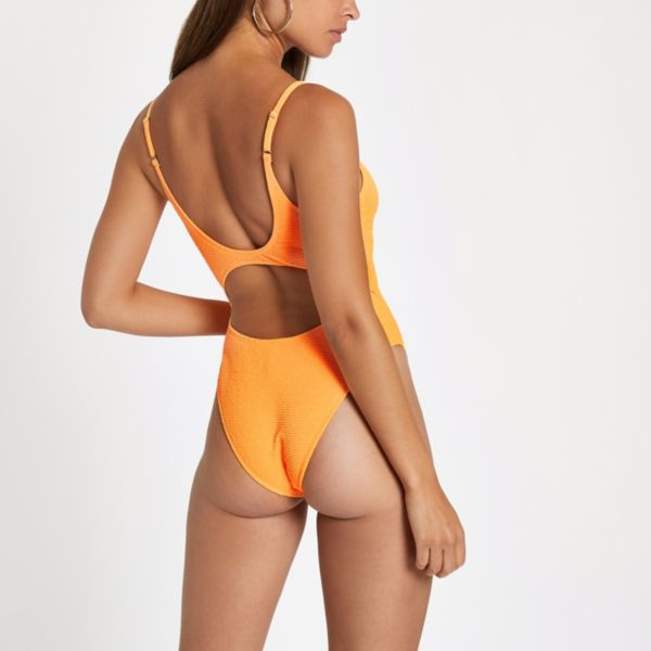 River Island - Orange textured knot front swimsuit - 3