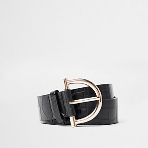 Black croc embossed stirrup buckle jeans belt