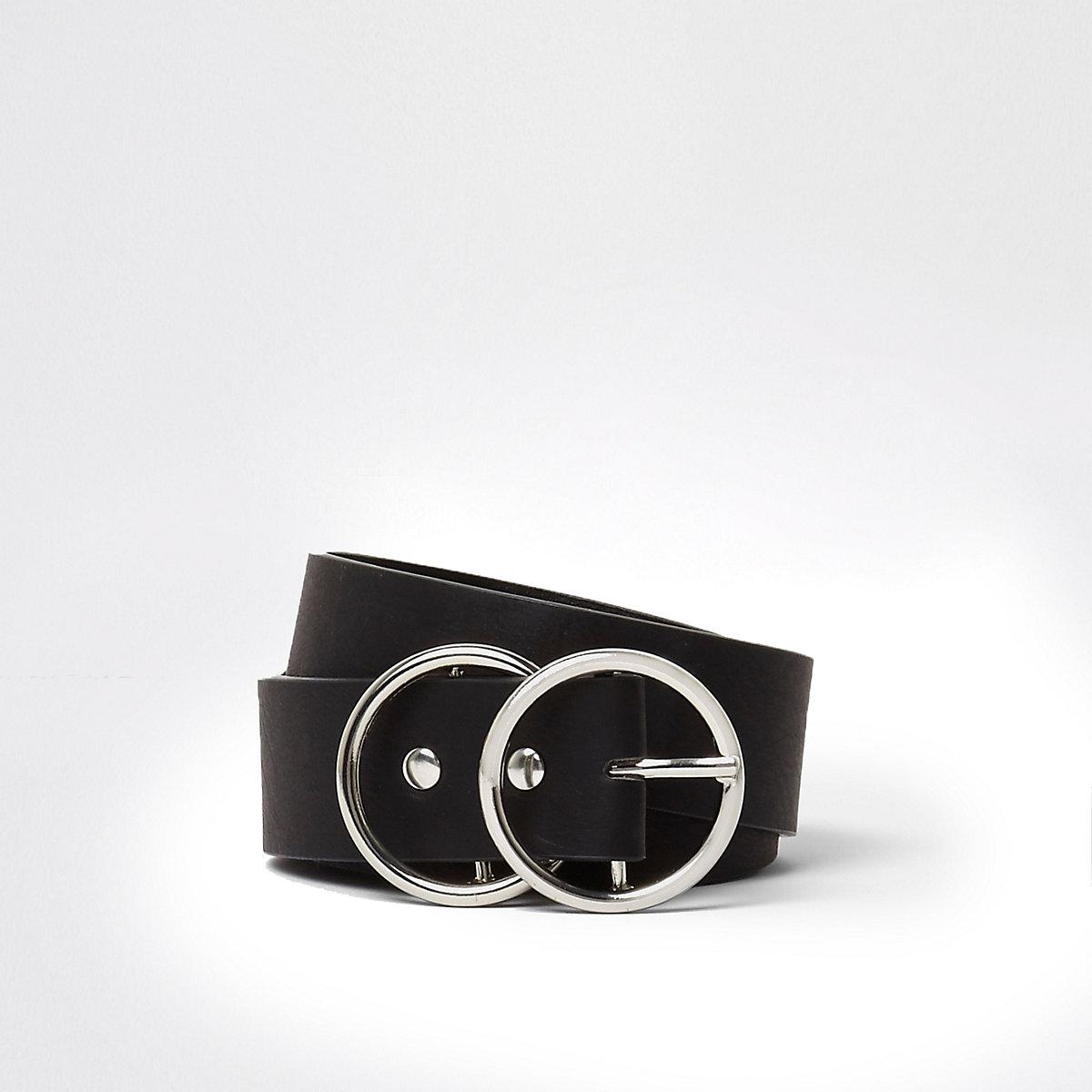 Zwarte jeansriem met dubbele ring en gesp