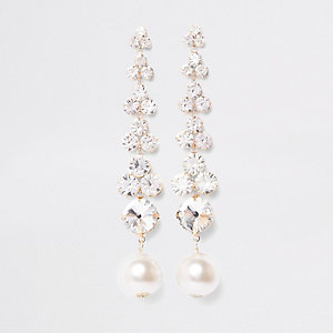 Gold tone rhinestone pearl drop earrings