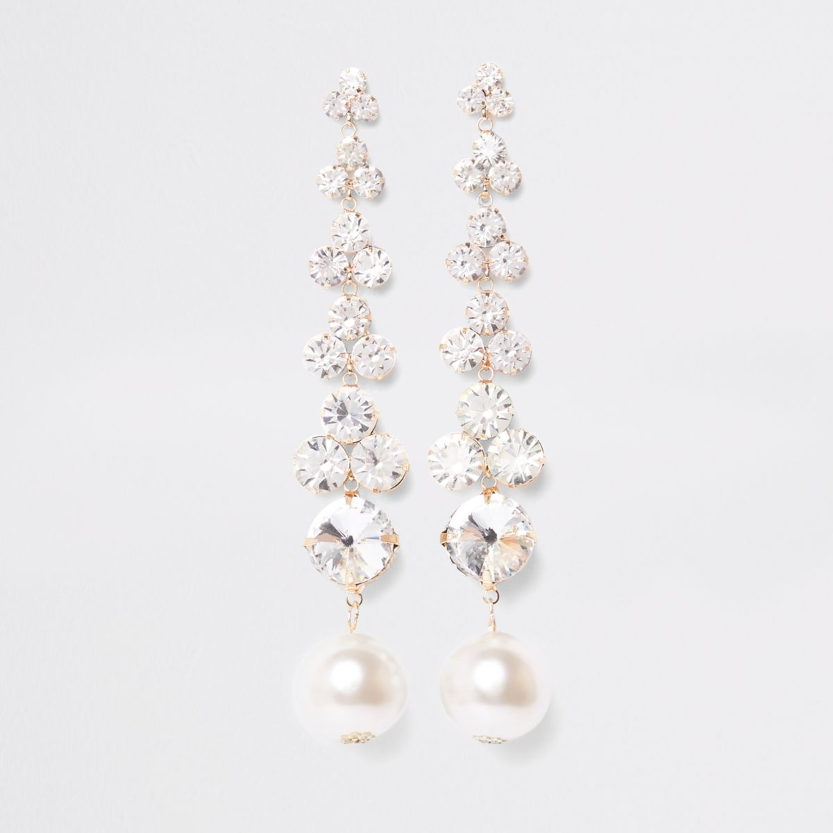 Gold tone rhinestone pearl drop earrings