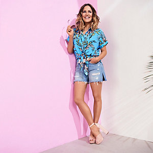 Mid blue Caroline Flack denim shorts