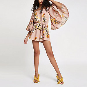 Pink floral bardot frill sleeve playsuit