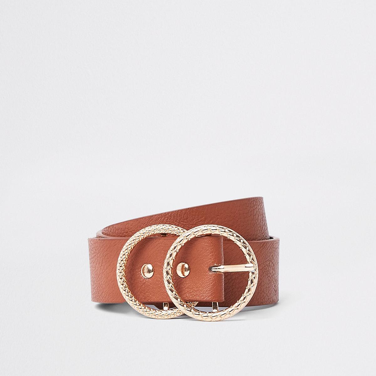 Bruine jeansriem met textuur, gesp en dubbele ring