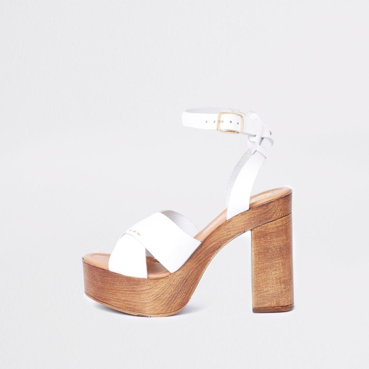 White cross strap platform heel sandals