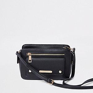 Zwarte crossbodytas met zak voor
