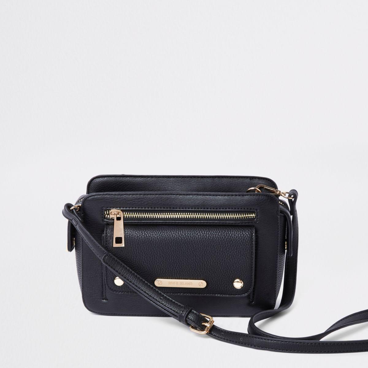 Black pocket front cross body bag